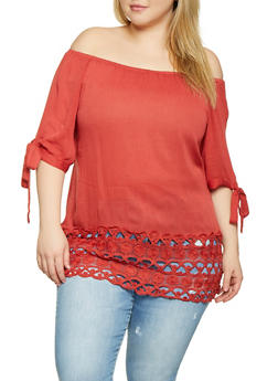 Plus Size Crochet Trim Off the Shoulder Top - 1803074730025