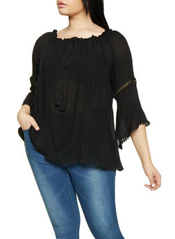 Plus Size Crochet Insert Off the Shoulder Peasant Top - 1803074730027