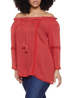 Red 3X Off the Shoulder Tops