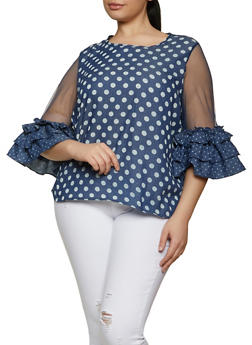 Plus Size Chambray Polka Dot Mesh Sleeve Top - 1803074730032