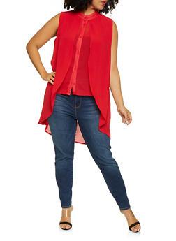 Plus Size Sleeveless Chiffon Overlay Shirt - 1803074730041