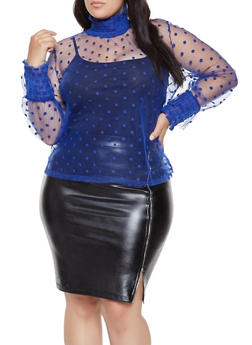Plus Size Polka Dot Tulle Top - 1803074730083