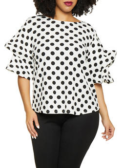 Plus Size Polka Dot Tiered Sleeve Top - 1803074730141