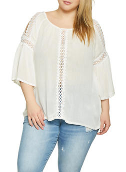 Plus Size Tops with Crochet Sleeves