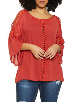 Plus Size Crochet Trim Bell Sleeve Top - 1803074730230