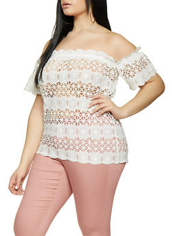 Plus Size Sheer Crochet Off the Shoulder Top - 1803074730236