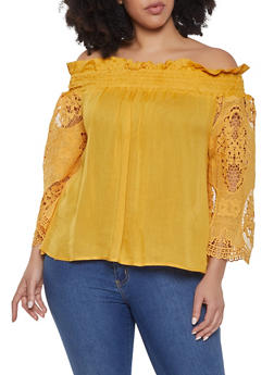 Plus Size Off the Shoulder Peasant Top - 1803074730311
