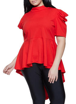 Plus Size Crepe Knit High Low Peplum Top - 1803074730365