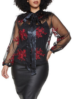 Plus Size Floral Embroidered Mesh Shirt - 1803074730402