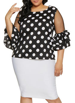 Plus Size Polka Dot Mesh Sleeve Top - 1803074730530