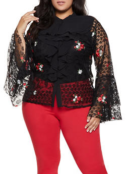 Plus Size Floral Embroidered Lace Shirt - 1803074731153