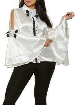 Plus Size Flower Ribbon Detail Satin Shirt - 1803074731156