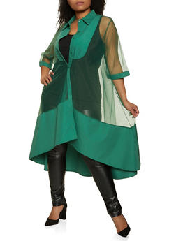 Plus Size Sheer Button Front Maxi Top - 1803074731160