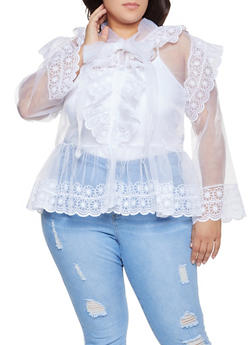 Plus Size Embroidered Organza Shirt - 1803074731163