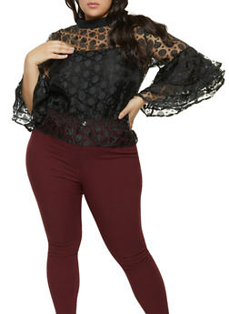 Plus Size Organza Tiered Bell Sleeve Top - 1803074731202