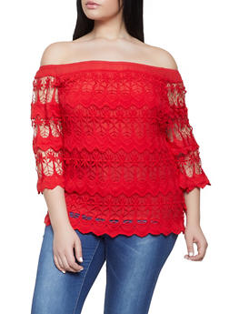 Plus Size Crochet Off the Shoulder Top - 1803074731738