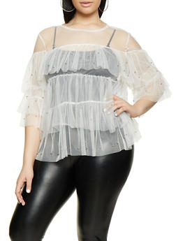 Plus Size Studded Tiered Mesh Top | 1803074732001 - 1803074732001