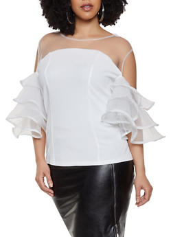 Plus Size Tiered Cold Shoulder Sleeve Crepe Knit Top - 1803074732098