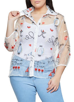 Plus Size Embroidered Graphic Organza Shirt - 1803074732190