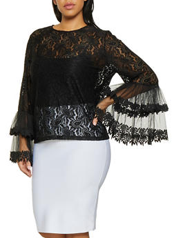 Plus Size Bell Sleeve Lace Top - 1803074732208