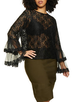 Plus Size Lace Bell Sleeve Top - 1803074732228