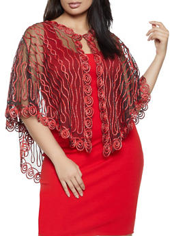 Plus Size Lurex Embroidered Poncho - 1803074732990