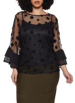Plus Size Polka Dot Fishnet Top - 1803074733116