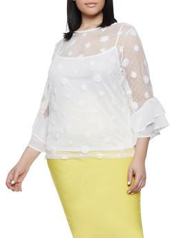 Plus Size Polka Dot Fishnet Top - 1803074733116