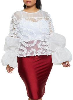 Plus Size Organza Balloon Sleeve Top - 1803074733329