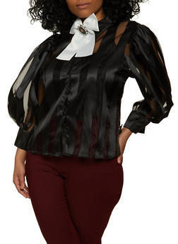 Plus Size Striped Balloon Sleeve Top - 1803074734184