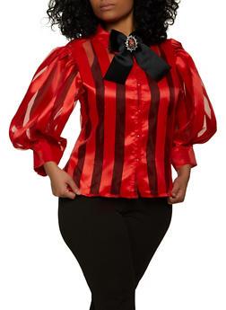 Plus Size Striped Balloon Sleeve Top - 1803074734184