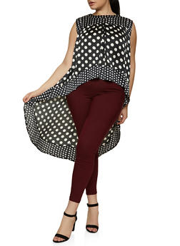 Plus Size Polka Dot High Low Top - 1803074734560