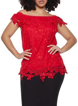Plus Size Crochet Off the Shoulder Top - 1803074735012