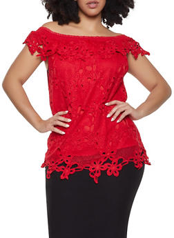 Plus Size Crochet Eyelet Off the Shoulder Top - 1803074735012