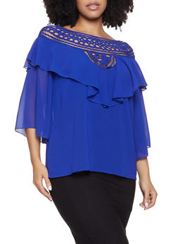 Plus Size Ruffled Overlay Blouse - 1803074738011