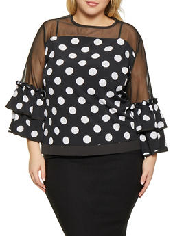 Plus Size Mesh Yoke Polka Dot Top - 1803074738019