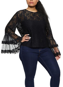 Plus Size Mesh Bell Sleeve Top - 1803074738022