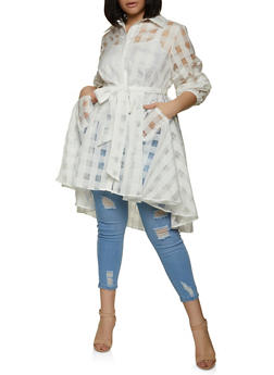 Plus Size Belted Windowpane Tunic Shirt - 1803074738544