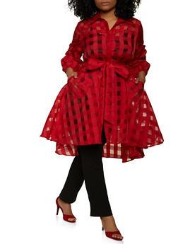 Plus Size Belted Windowpane Tunic Shirt - 1803074738544