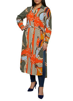 Plus Size Printed Maxi Shirt - 1803074739063