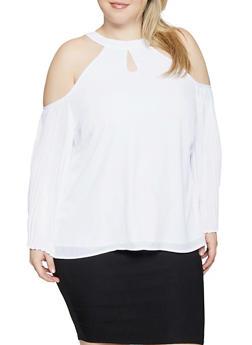 Plus Size Pleated Cold Shoulder Blouse - 1803074950478