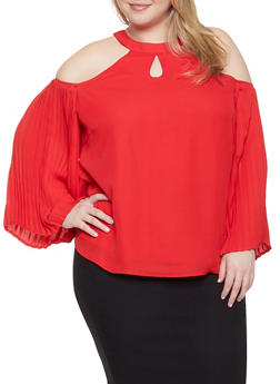 Plus Size Pleated Cold Shoulder Blouse - 1803074950478