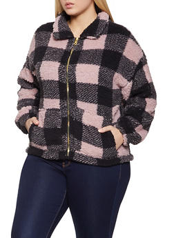 Plus Size Buffalo Plaid Sherpa Jacket - 1803075172006