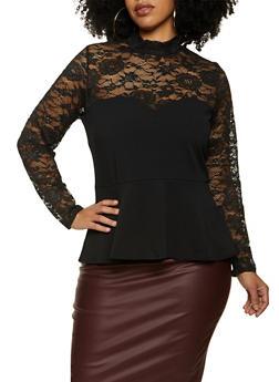 Plus Size Lace Yoke Peplum Top - 1803075173001