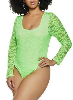 Plus Size Long Sleeve Lace Bodysuit - 1803075174347