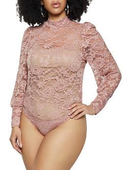 Plus Size Solid Lace Mock Neck Bodysuit - 1803075176032
