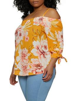 Plus Size Floral Cold Shoulder Crepe Knit Blouse - 1803075845008