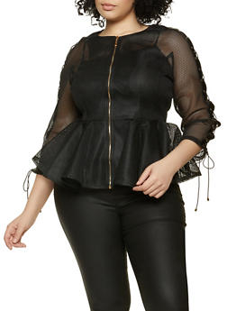 Plus Size Lace Up Sleeve Peplum Top - 1803075880339