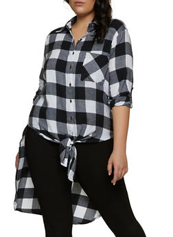 Plus Size Plaid Tie Button Front Shirt - 1803076020101