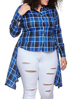 Plus Size High Low Plaid Shirt - 1803076020102